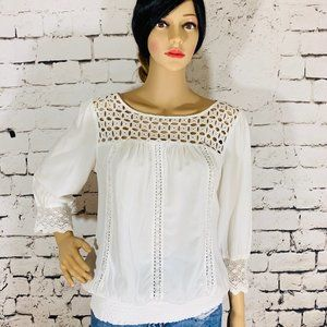 Solitaire White boho crochet shirt